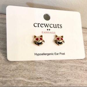 J. Crew | Heart Eye Cat Emoji Stud Earrings